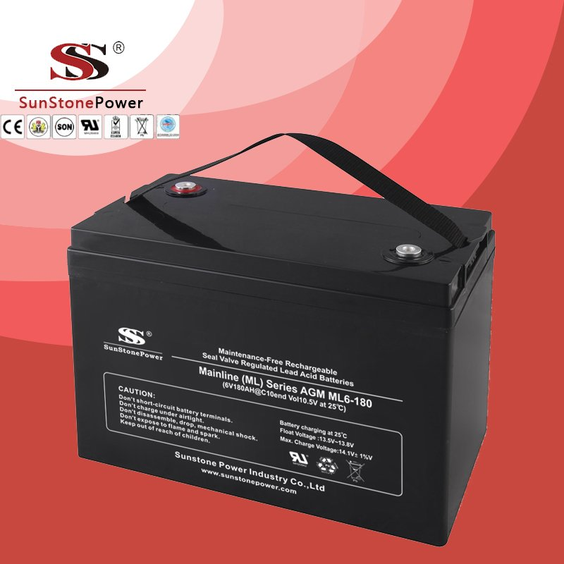 Solar Battery Deep Cycle Battery 6v 180ah AGM Lead Acid Battery